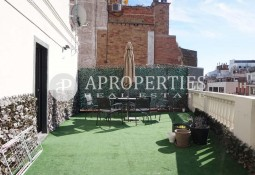 Furnished penthouse for rent with terrace in the upper area of Barcelona